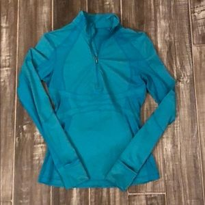 Lululemon quarter zip top, turquoise, size 6